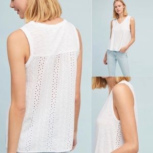 Anthropologie white eyelet tank